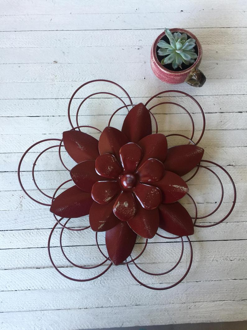 Metal Flowers Wall Decor Rustic Garden Home Decor Flower Etsy
