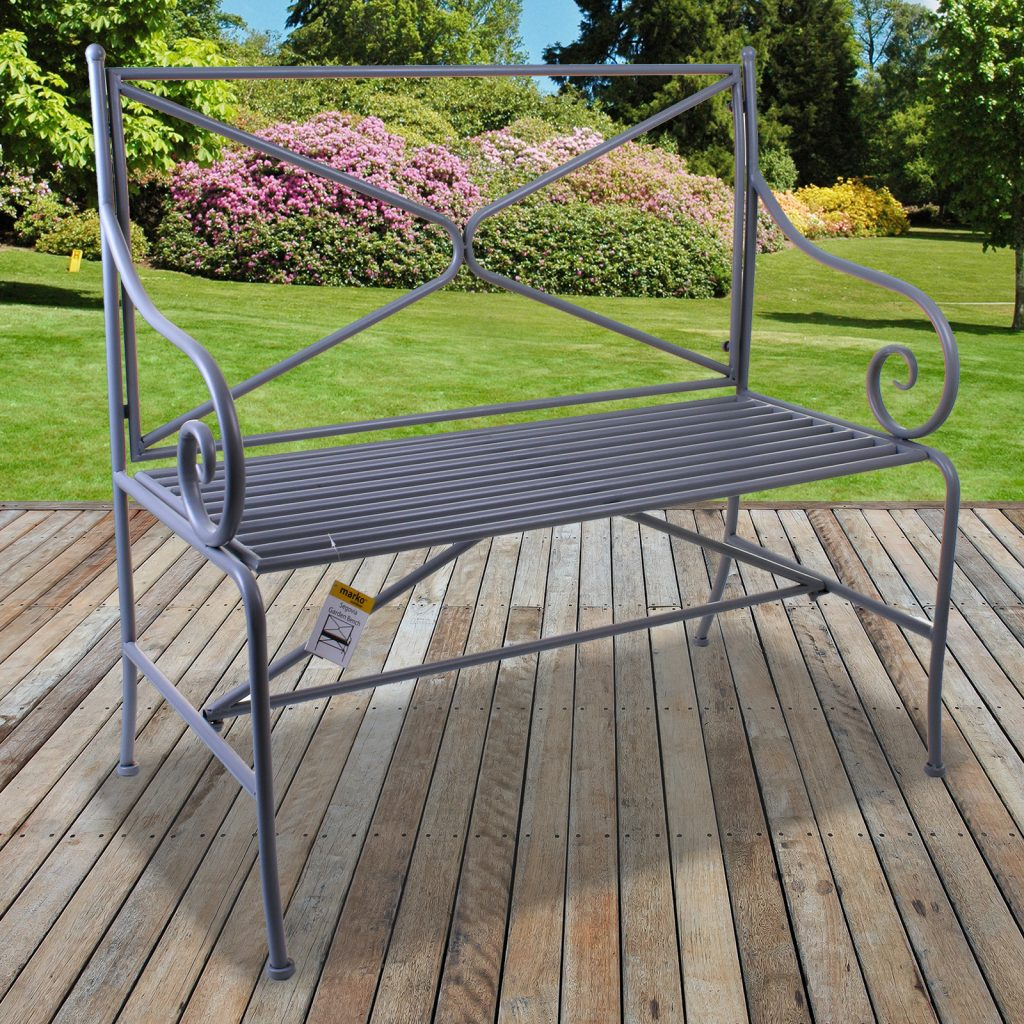 Metal Garden Bench Vintage Rustic Grey Ornate Decorative 23 Seater