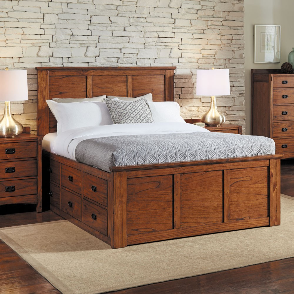 Mission Hills Wood Captain Platform Bed In Harvest Humble Abode