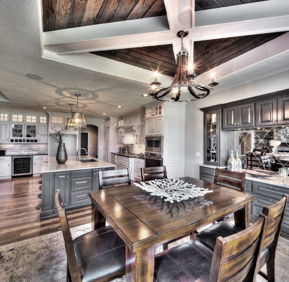 Model Home 15 Story Grey And White Kitchen Wood Ceiling Design