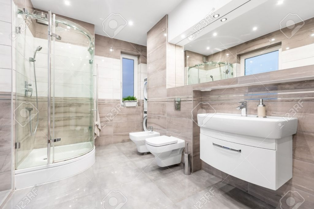 Modern Beige Bathroom With Window Walk In Shower Toilet Bidet
