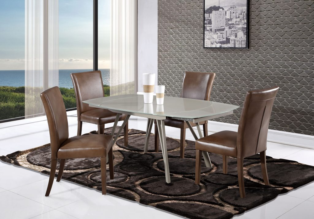 Modern Champagne Glass Swivel Extension Dining Table With Brown Side