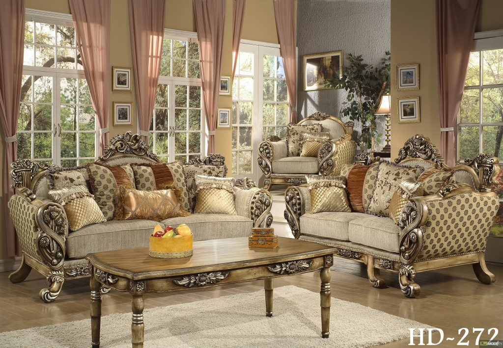 Modern Contempo Luxury Sofa Love Seat Chair 3 Piece Traditional