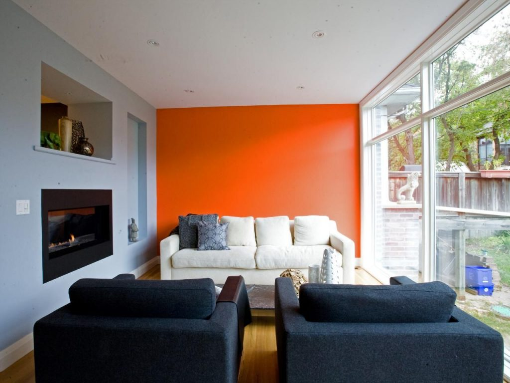 Modern Gray Living Room With Turquoise And Orange Accents Black