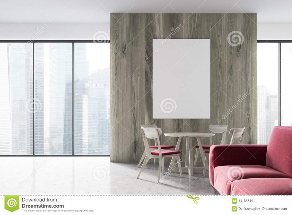 Modern Living Room And Dining Room Side View Stock Illustration