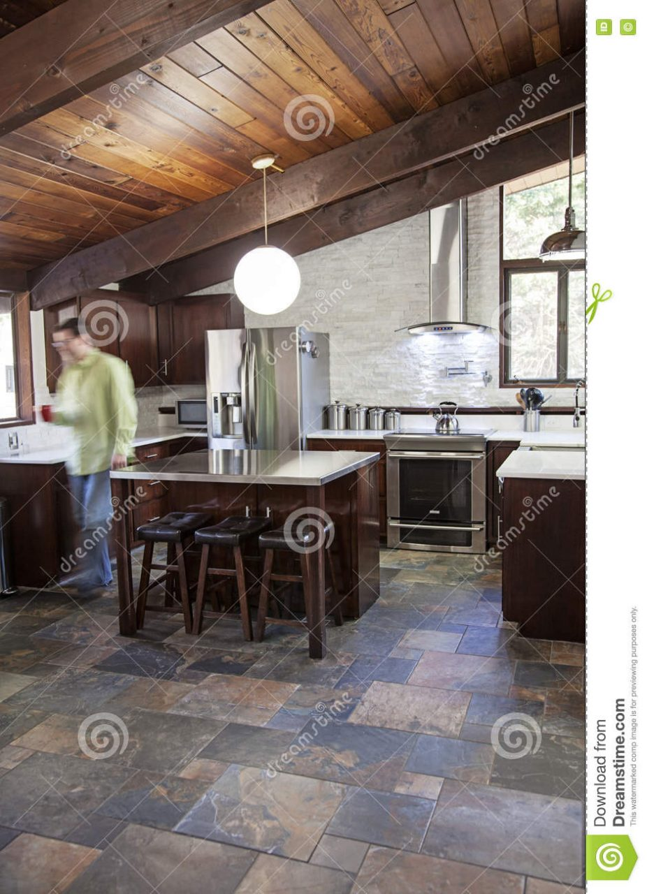 Modern Rustic Kitchen Stock Image Image Of Industrial 78081415