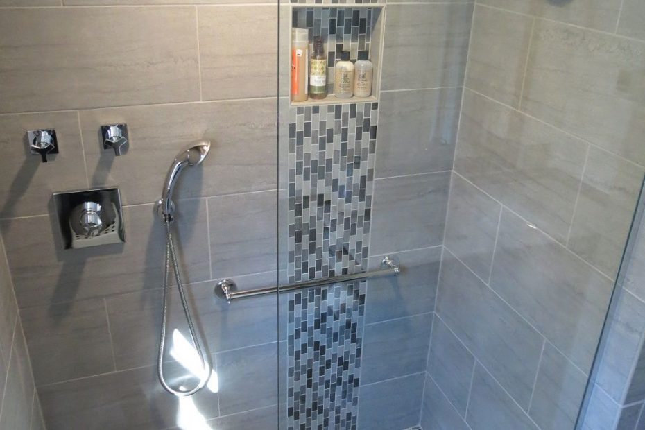 Modern Waterfall Shower With Grey Wall Tile And Mosaic Grey Shower