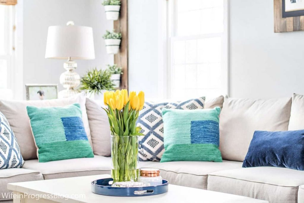Navy Blue Green Decorating Ideas A Spring Living Room Refresh