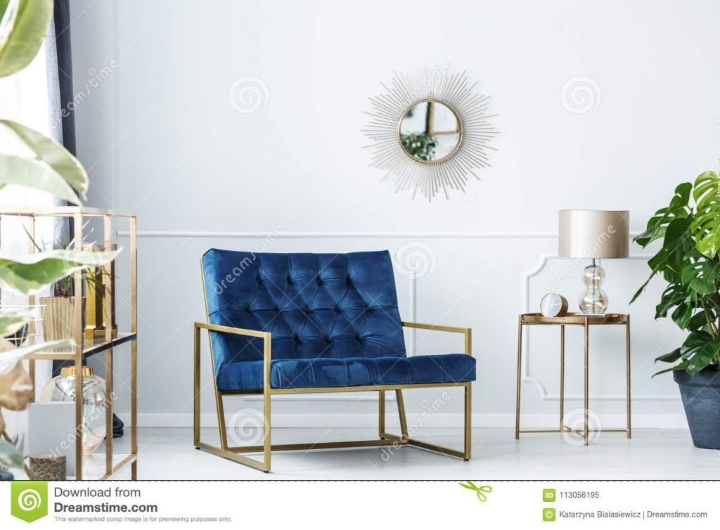 Navy Blue Living Room Stock Image Image Of Glamour 113056195