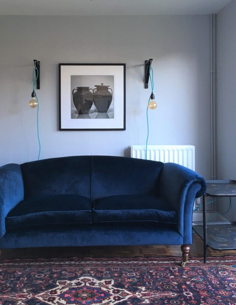 Navy Blue Velvet Sofa Persian Rug Sitting Room Lounge Dulux