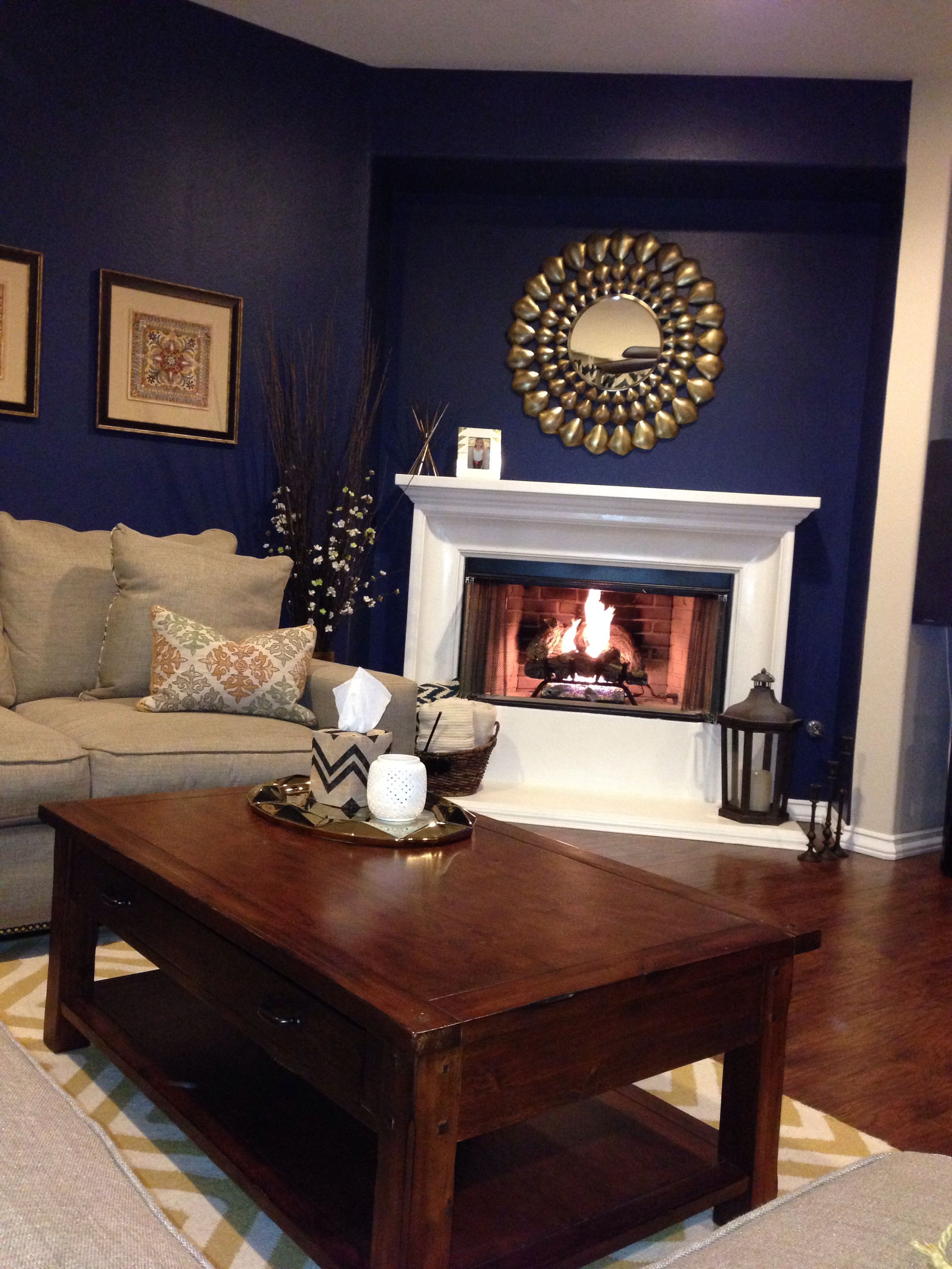 Navy Blue Walls Gold Accents And A Super White Fireplace My