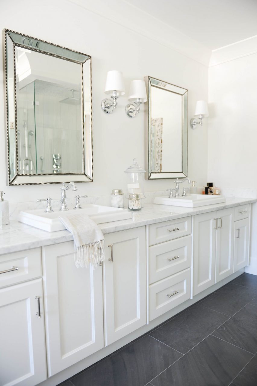 Neutrals A Pop Of Pink Win In This Blogger Home Bathrooms