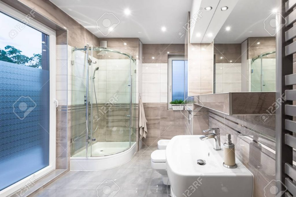 New Design Bathroom In White And Beige With Window Walk In Shower