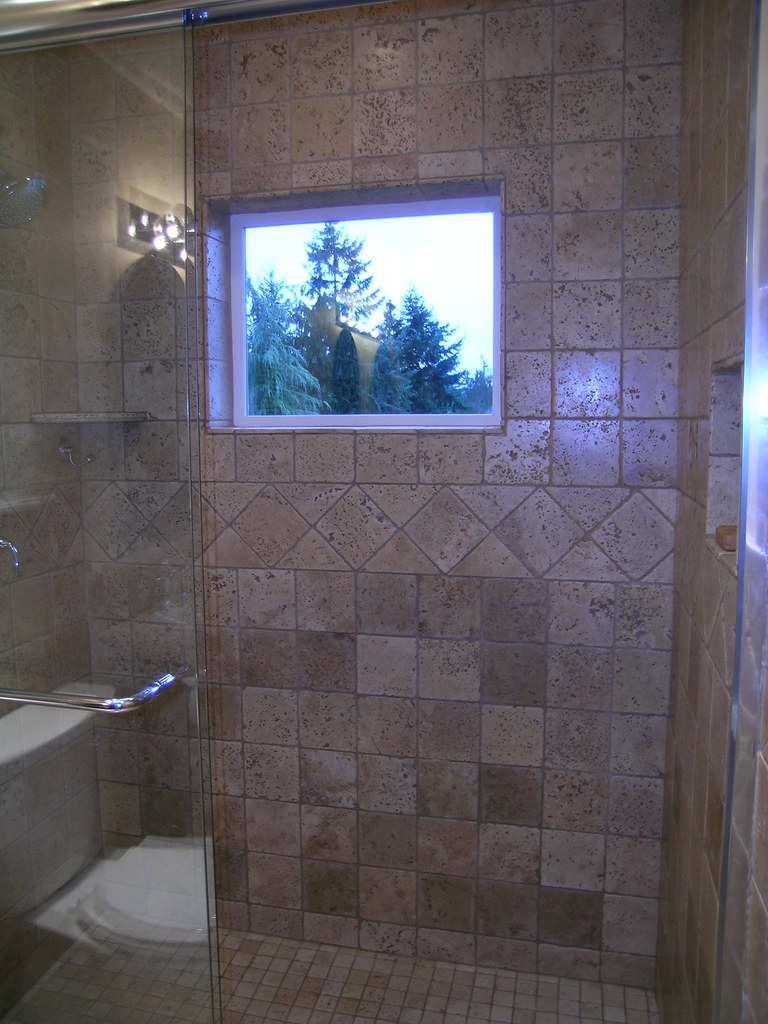 New Tile Walk In Shower With Window New Jet Tub Remodel Flickr