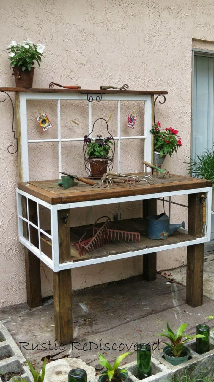 Old Window Outdoor Decor Idea For Benches Homebnc