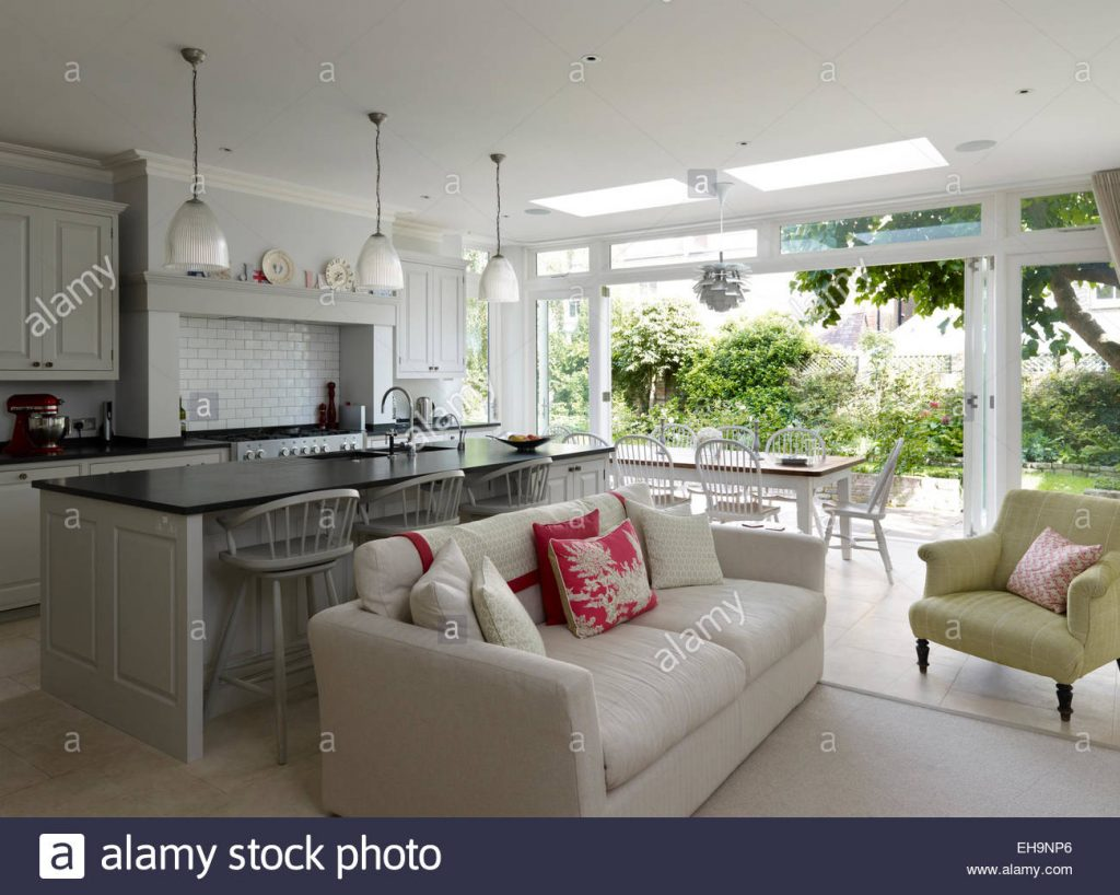 Open Plan Kitchen Living Area Stock Photos Open Plan Kitchen