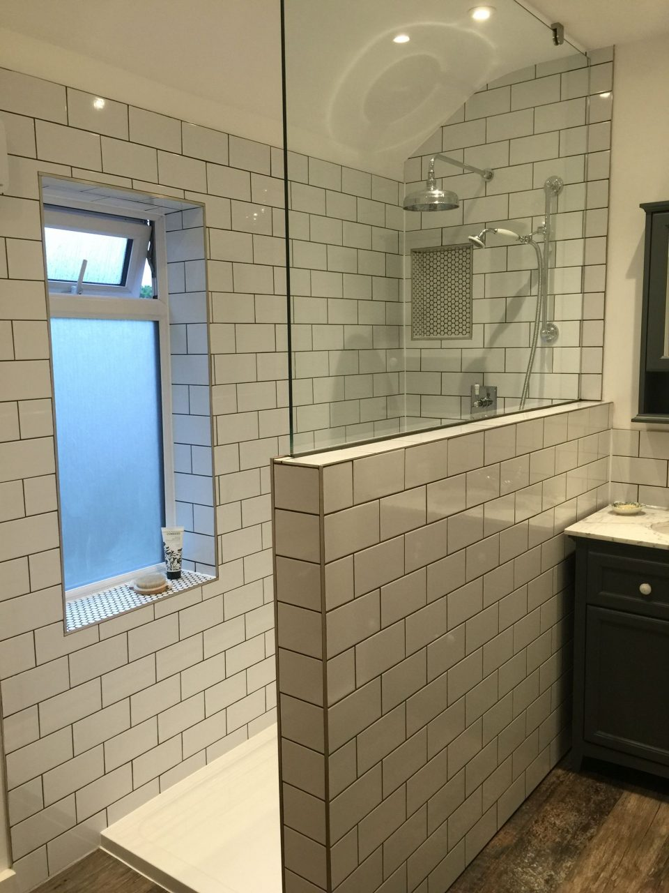 Our New Bathroom With Metrosubway Tiles And Dark Grey Grouting With