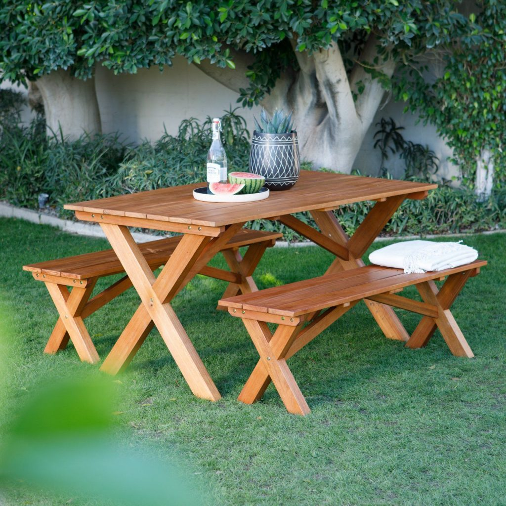 Outdoor Belham Living Borden Lake 5 Ft Wood Picnic Table Set In