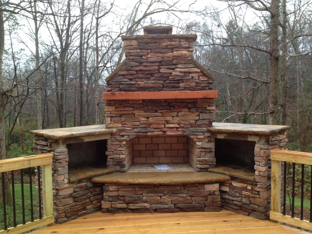 Outdoor Fireplace On Wood Deck With Deckorator Balusters Archadeck