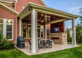 Outdoor Fireplace Covered Patio with Pool
