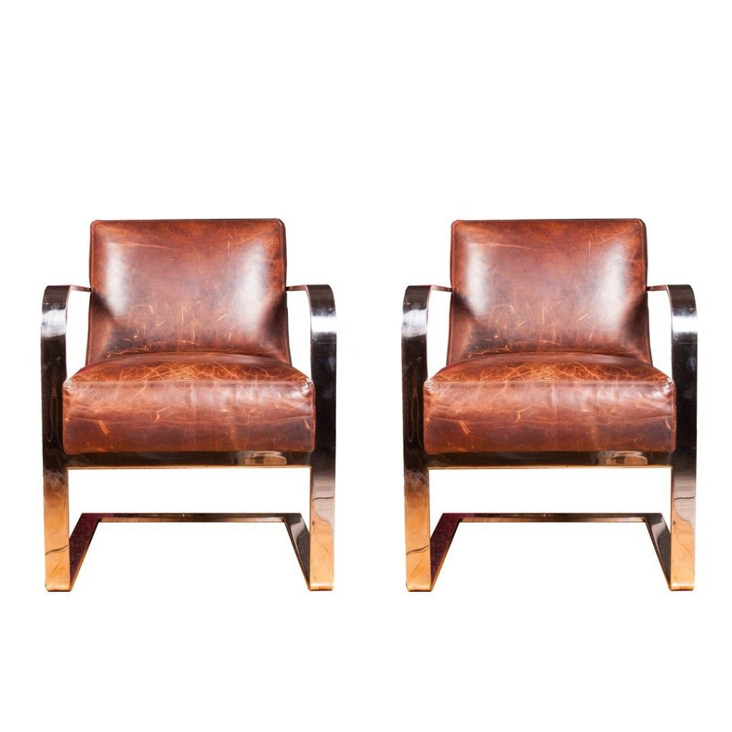 Pair Of Ralph Lauren Modern Penthouse Dining Or Lounge Chairs
