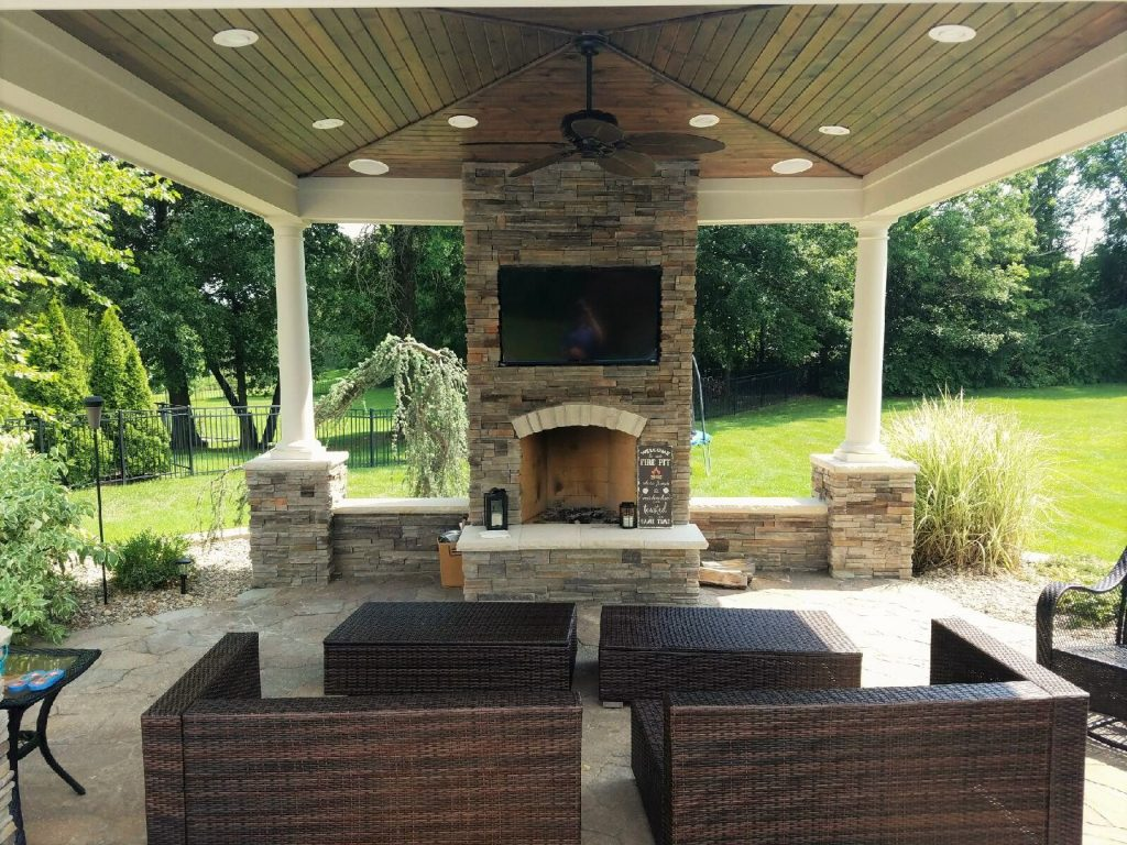 Pavilion With Fireplace And Inset For Flat Screen Tv Backyard