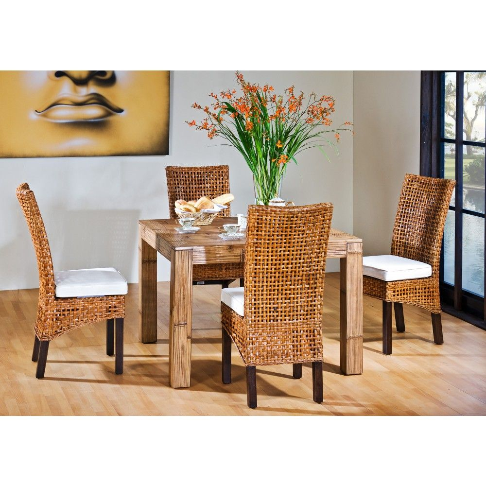 Pegasus Indoor 5 Pc Rattan Wicker Dining Set With Four Side Chairs