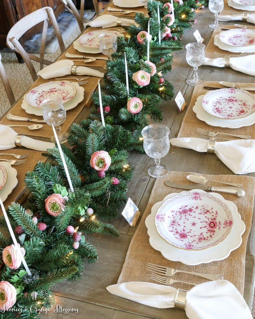 Petitehaus Table Setting Country Christmas Decorations Pink