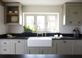 White Shaker Kitchen Cabinets Black Granite Countertops