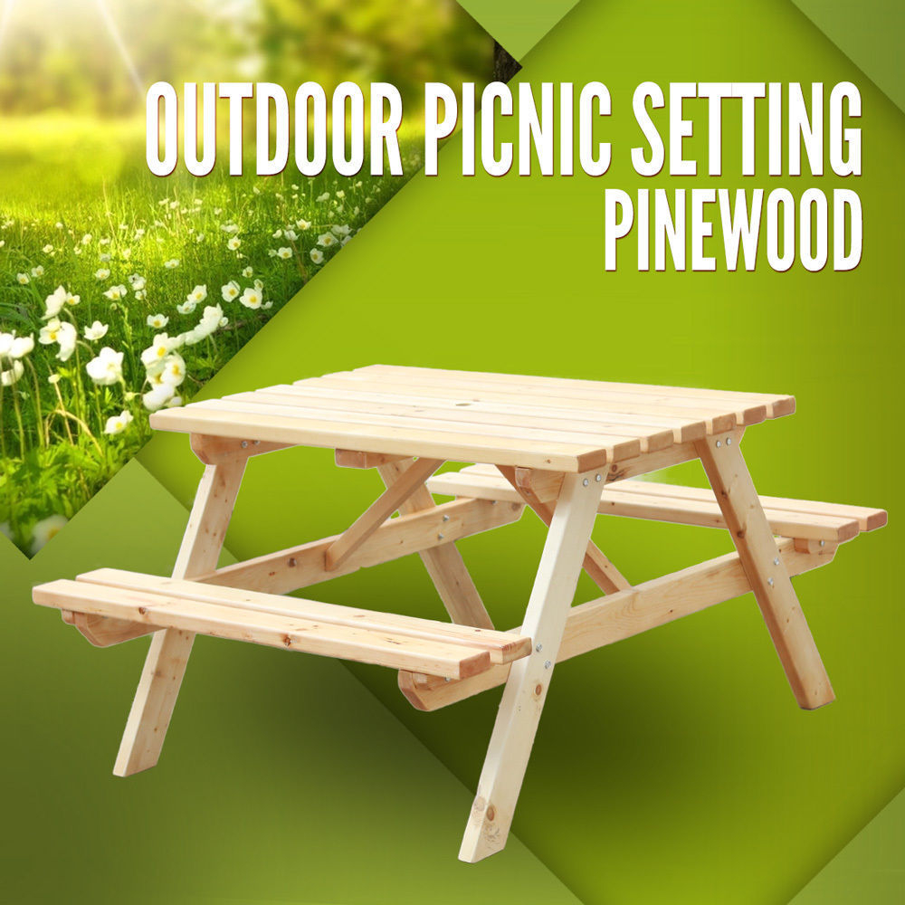 Picnic Table Pinewood Picnic Setting Outdoor Bbq Garden Bench Wooden