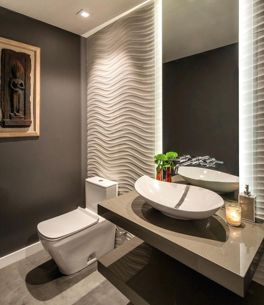 Powder Room Ideas Contemporary With Lighting Ceramic Vessel