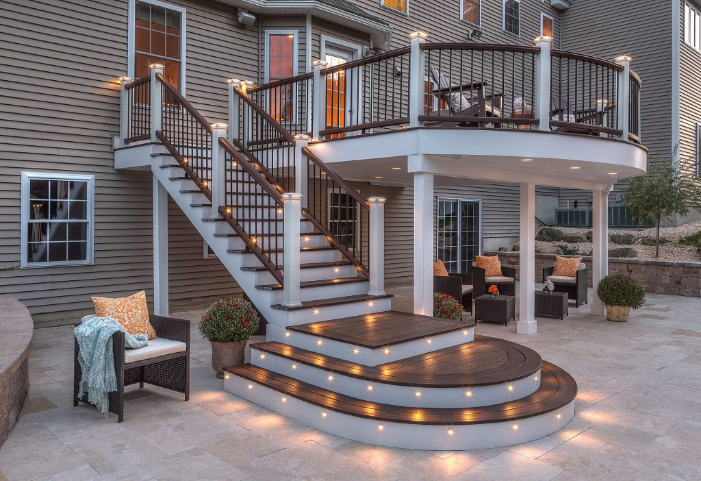 Professional Building Services Trex Curved Deck With Lights Decks