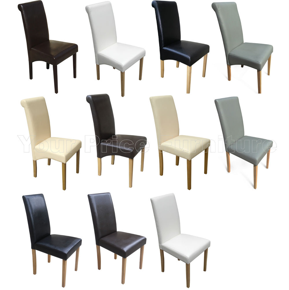 Quality Faux Leather Dining Room Chairs Brown Black Grey