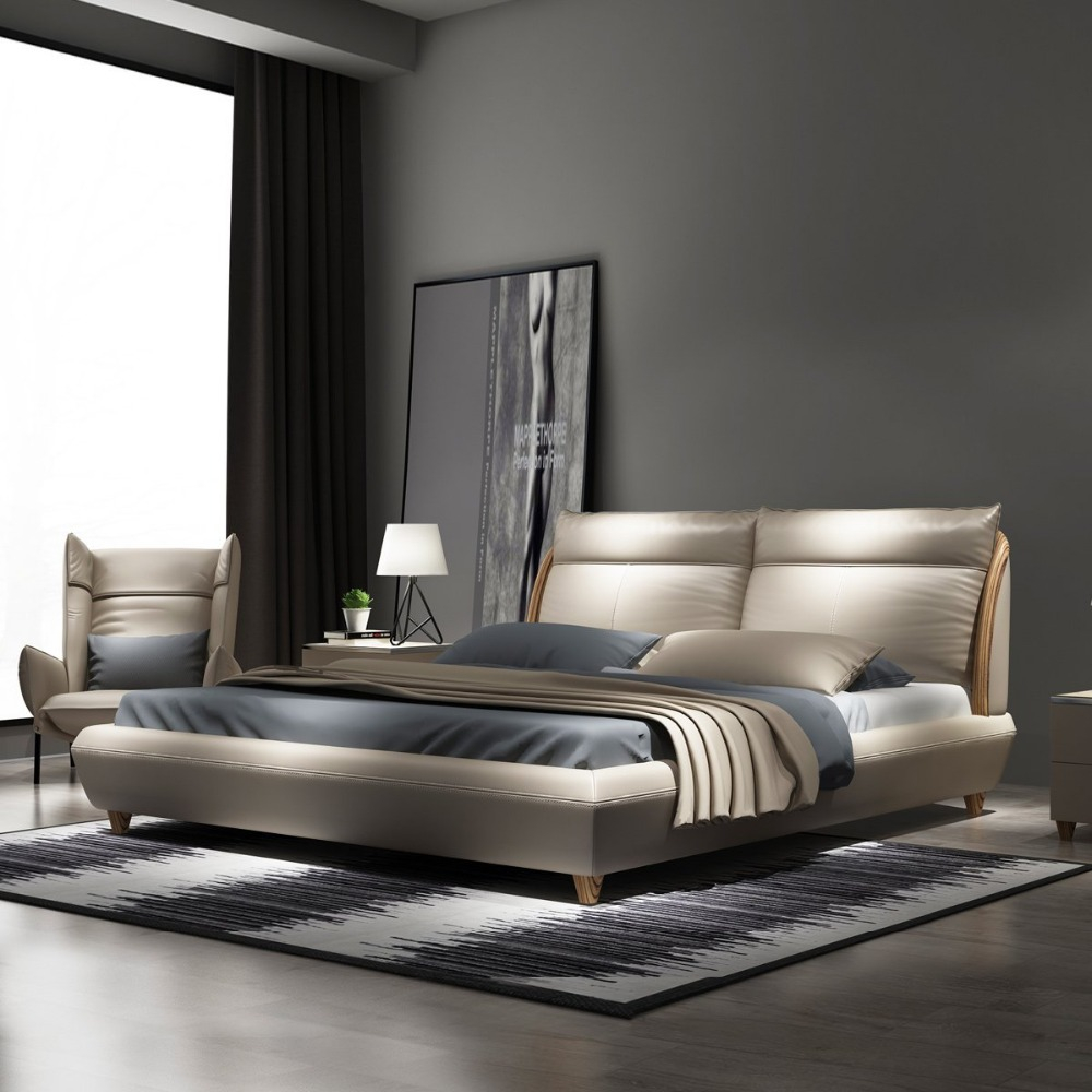 Rama Dymasty Genuine Leather Soft Bed Modern Design Bed Fashion