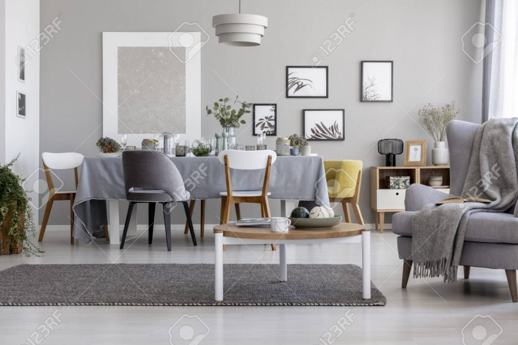 Real Photo Of Light Grey Living Room Interior With Armchair With
