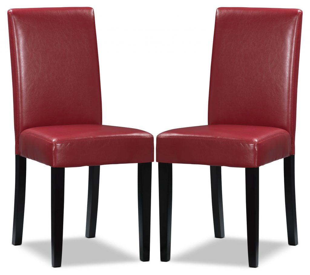 Red Faux Leather Accent Dining Chair Set Of 2 United