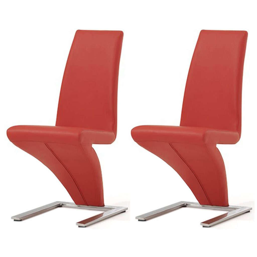 Red Z Shaped Dining Chairs Faux Leather Dining Chairs Fads