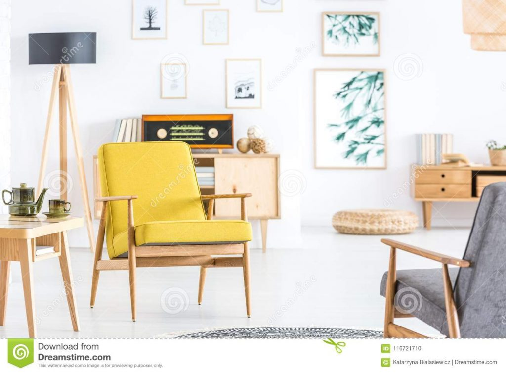 Retro Yellow Living Room Interior Stock Photo Image Of Decor