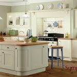 Sage Green Kitchen White Cabinets with Island