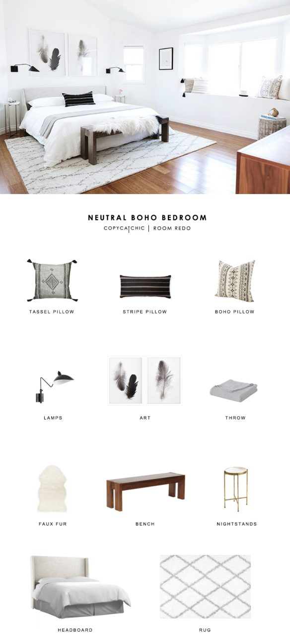 Room Redo Neutral Boho Bedroom Copycatchic