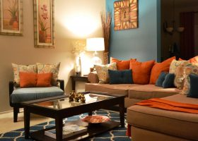 Burnt Orange and Gray Living Room