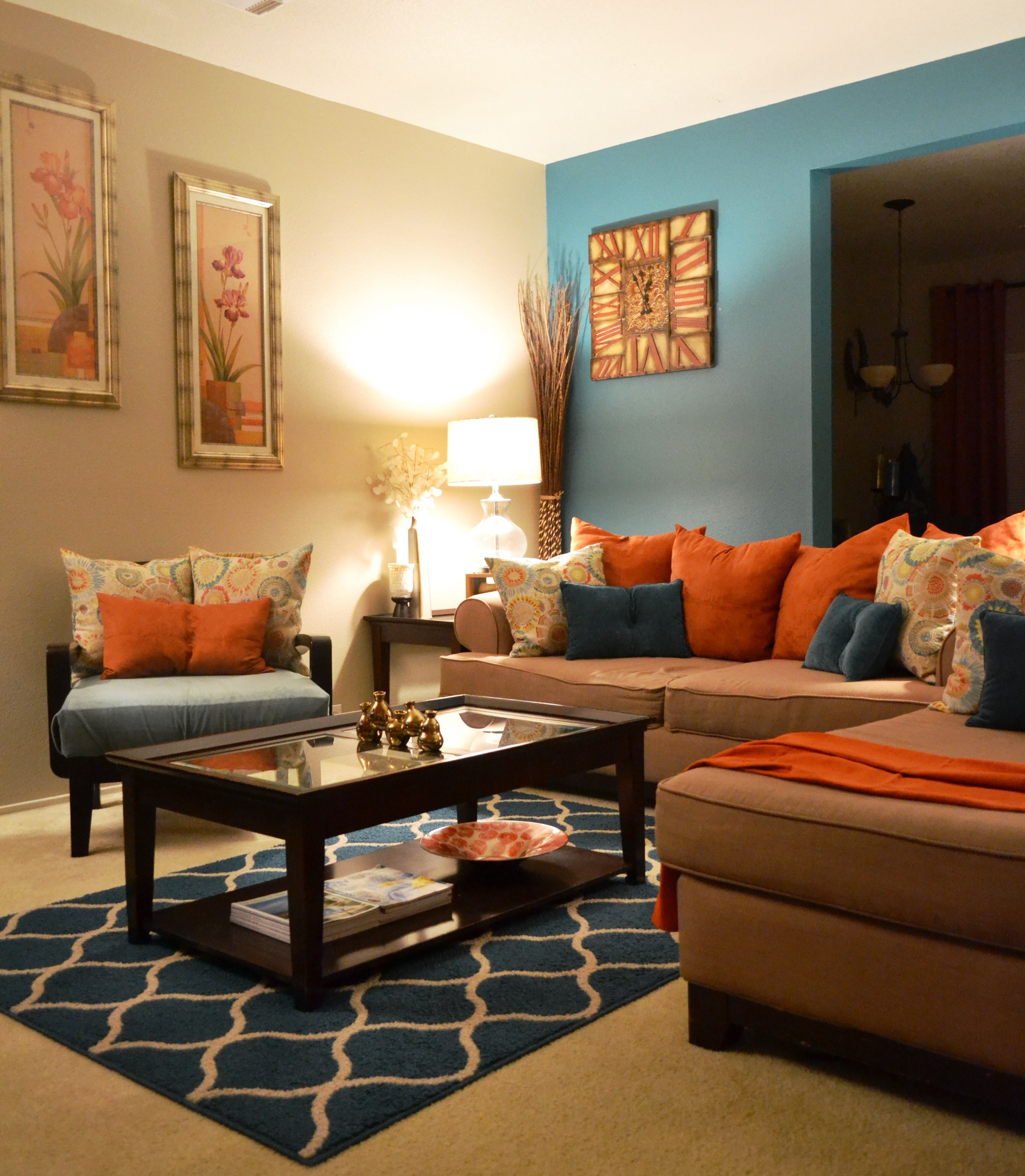 Rugs Coffee Table Pillows Teal Orange Living Room Behr Paint