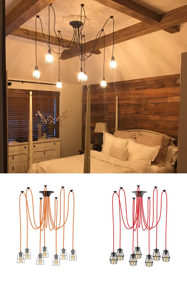 Rustic Bedroom Chandelier 7 Shab Chic Caged Pendants Vintage Etsy