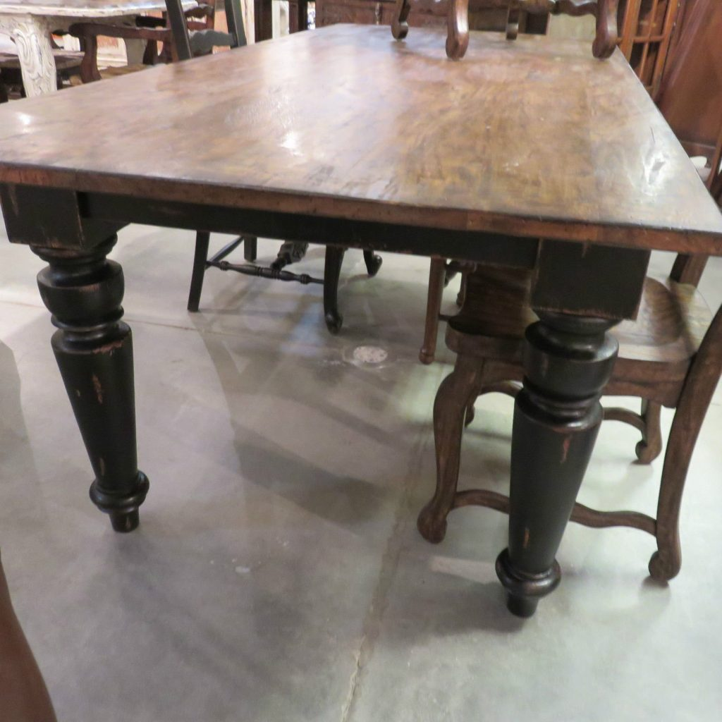 Rustic Farmhouse Dining Table 84 Black Distressed 10 Foot Farmhouse