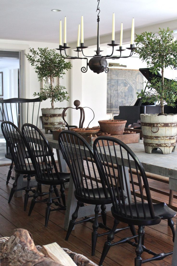 Rustic French Table With American Windsors Farmhouse Home Decor