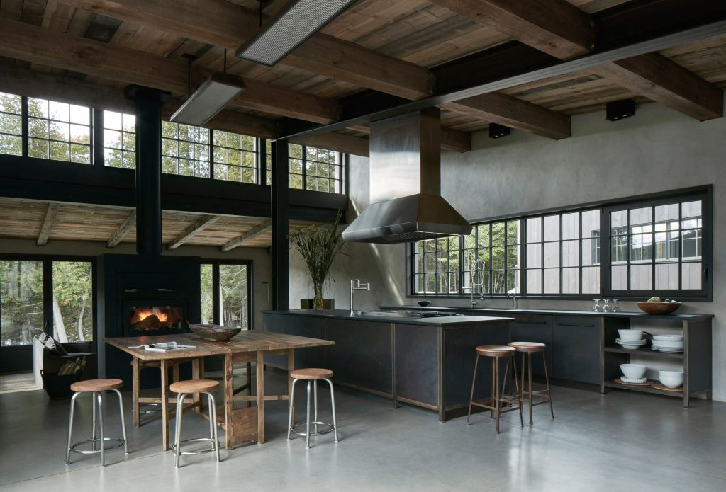 Rustic Industrial Kitchendining Space In A Large Open Plan Living