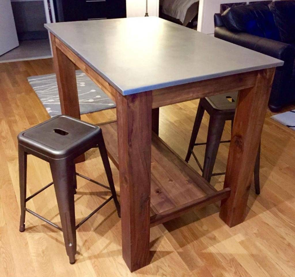 Rustic Kitchen Island Dining Table Wood And Vintage Metal Brass In