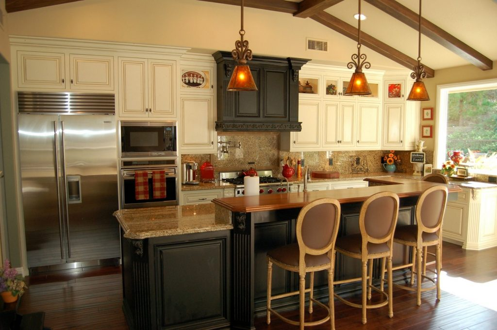 Rustic Kitchen Island With Extra Good Looking Accompaniment Designs