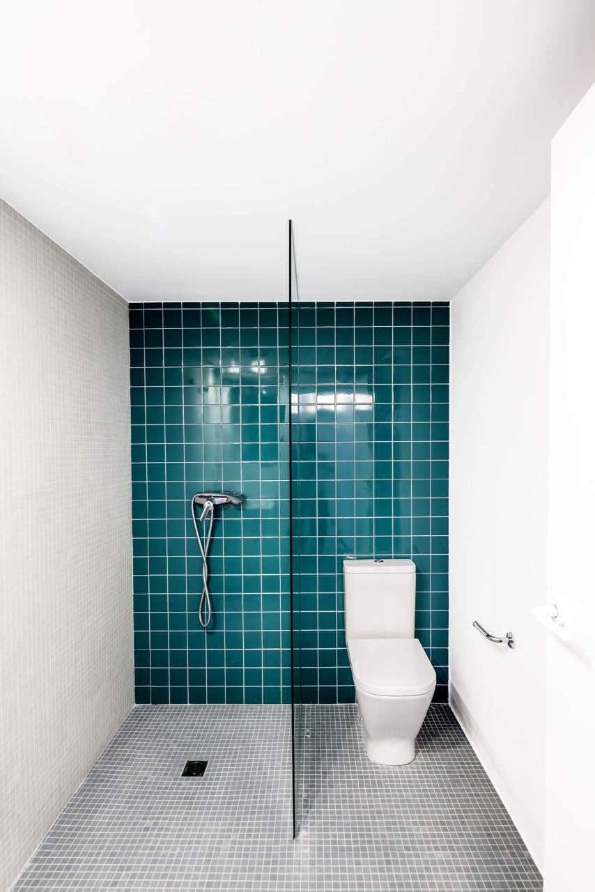 Rustic Tiled Turquoise Bathroom Interiors Color Shower Bath Panel