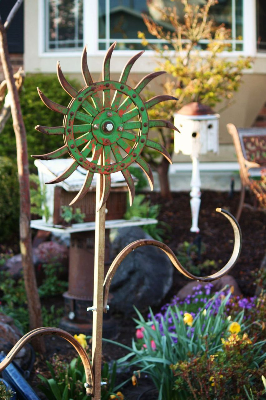 Rustic Utah Item 22 Metal Flower Made From Antique Rotary Hoe